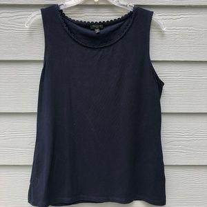 Talbots Navy Blue Stretch Tank Medium Petite